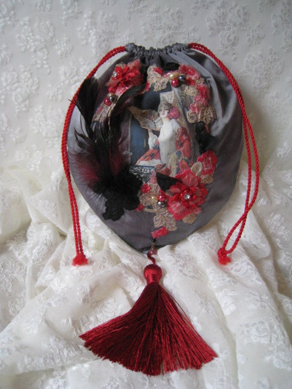 Vintage Lace, Flowers and Feathers on Lady Silk Handbag