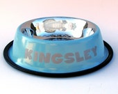 Baby Blue Dog Bowl - Engraved with Name - Personalized Custom - Doggy Dish - Water Bowl - Pet