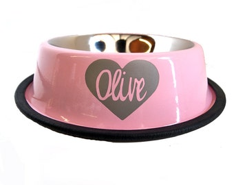 Baby Pink Dog Bowl - Personalized Stainless Steel Dog Bowl - Heart - Custom - Engraved - Girl Puppy