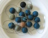 Coastline garland  -  felt ball garland in marine blue and stone for serenity - 18 felt balls, about 7 feet long