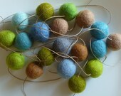 Soft Spring Garland  --  blues and greens - a strand of felt balls strung on antique French flax -  OOAK - about 8 feet long - 19 felt balls