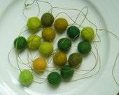 RESERVED for natashalouise82 Great Greens Garland  --  a pistachio spruce felt ball mix on light green cord --  8 feet long, 17 felt balls