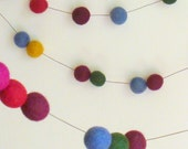 Forest Berry Felt Ball Garland  - 7 ft long felt garland in blues, purples and forest colors - woodland garland - housewarming gift