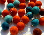 Tangerine Tonic Garland -  felt ball garland in oranges and blues, aqua and copper --  7 feet long