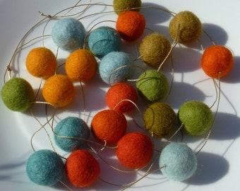Garden felt ball garland -  oranges, blues, greens - 6.5 feet long, 22 felt balls