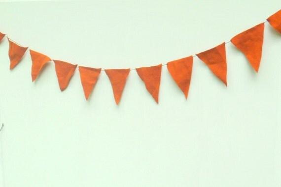 Pumpkin spice rustic bunting - Halloween - pennant triangle flags in rusty orange --  garland 3.5 feet long, in hemp tencel blend