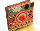 Mini brag book with mushrooms, mini fold book, accordion book, wallet photo album, pink, aqua, yellow