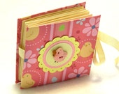 Chicken Little mini brag book with baby chick, mini fold book, wallet photo album, pink, yellow