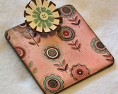 Post-it Note Clipboard with pad, mini, 2-sided, floral, rose, aqua, brown