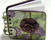 Cabbage Roses Mini Gratitude Journal, lavender - green - brown