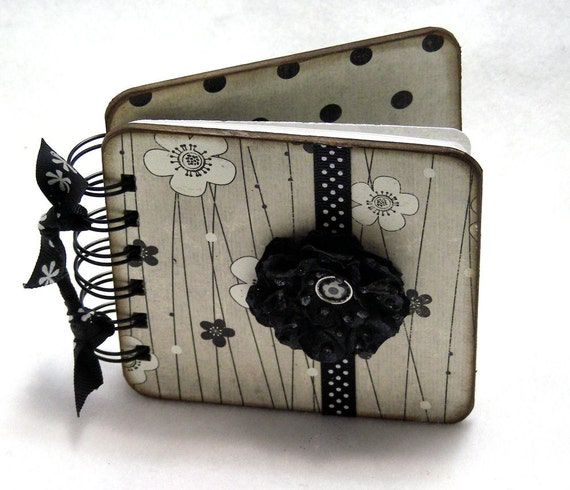 Black and White Blossoms Mini Blank Book, doodle - sketch - collage - write