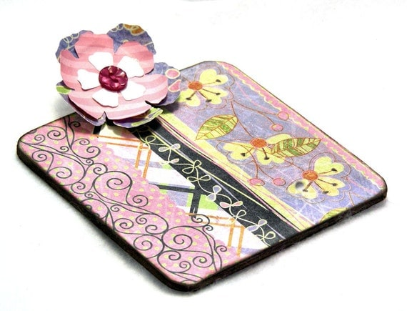 Floral Harmony Post-it Note Mini Clipboard with pad, 2-sided, pink - blue - green