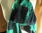 SALE--extra long cashmere and angora patch scarf- hunter\/shamrock