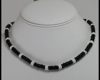 Hawaiian Surfer Necklace Black Coco Beads with White Puka Shells Necklace (16 and 18 inches in Size)
