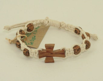 Macrame Bracelet Off White Cord with Natural Palm Wood Cross and Beads bracelet