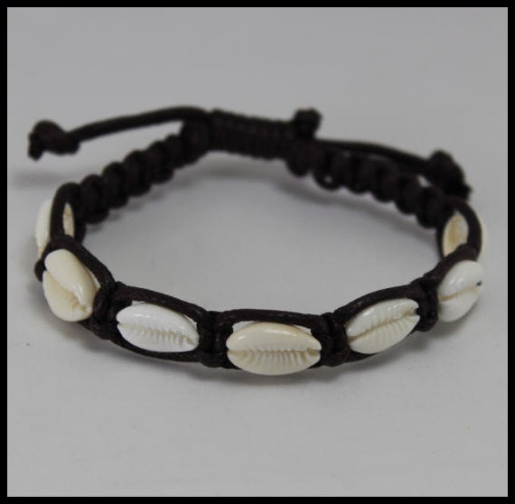Shell Macrame Bracelet Dark Brown Cord with Natural Cowrie Shells 8 inch Beach Lovers wear