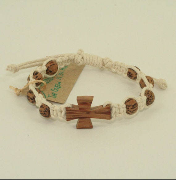 Macrame Bracelet Off White Cord with Natural Palm Wood Cross and Beads 7 inch bracelet