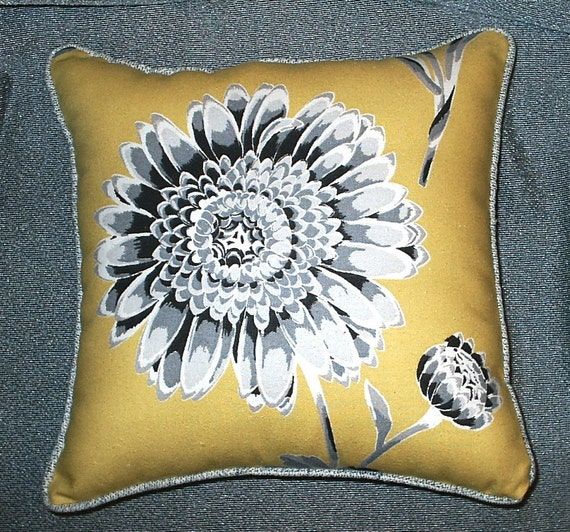 Petite Mustard Yellow And Gray Floral Fabric Pillow