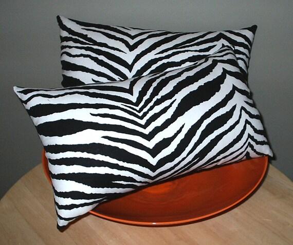 Animal Print Lumbar Pillow : 2 Black and White Zebra Animal Print Mini Lumbar Pillows