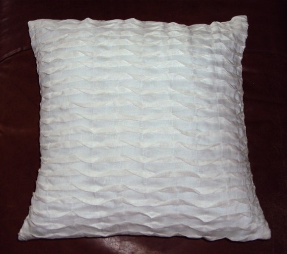 Pleated Off White Cream Linen Blend Fabric Throw Pillow