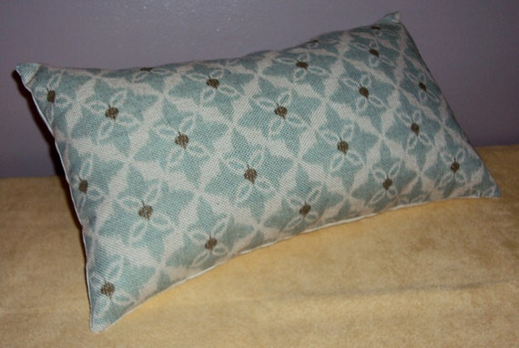 CLEARANCE - Mod Jade and Tan Ikat Lattice Fabric Lumbar Pillow