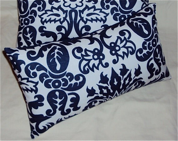 Navy Blue And White Tulip Damask Print Decorative Lumbar