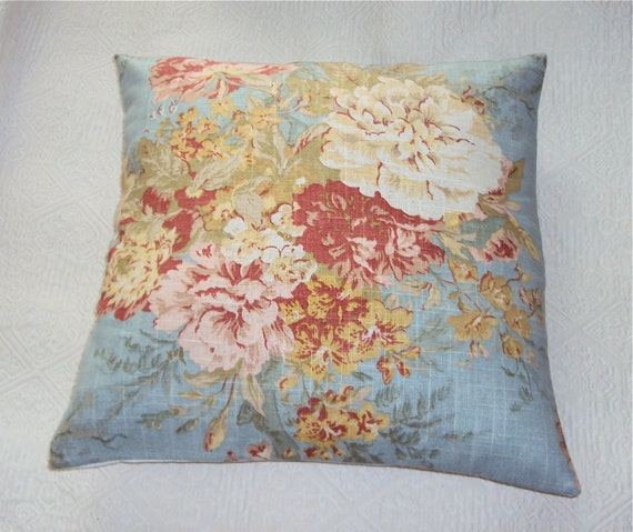 20x20 Waverly Ballad Bouquet Robin Egg Floral Pillow Cover - Free Shipping