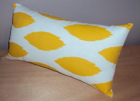Mod Yellow and White Ikat Fabric Lumbar Pillow