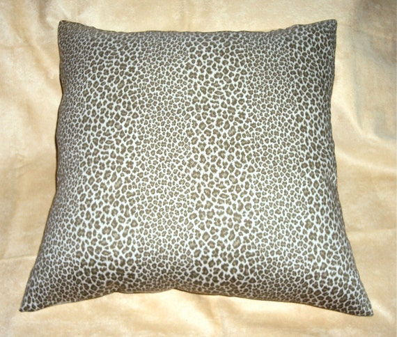 18x18 Olive Khaki and Cream Cheetah Print Pillow Cover - Free Shipping - CLEARANCE