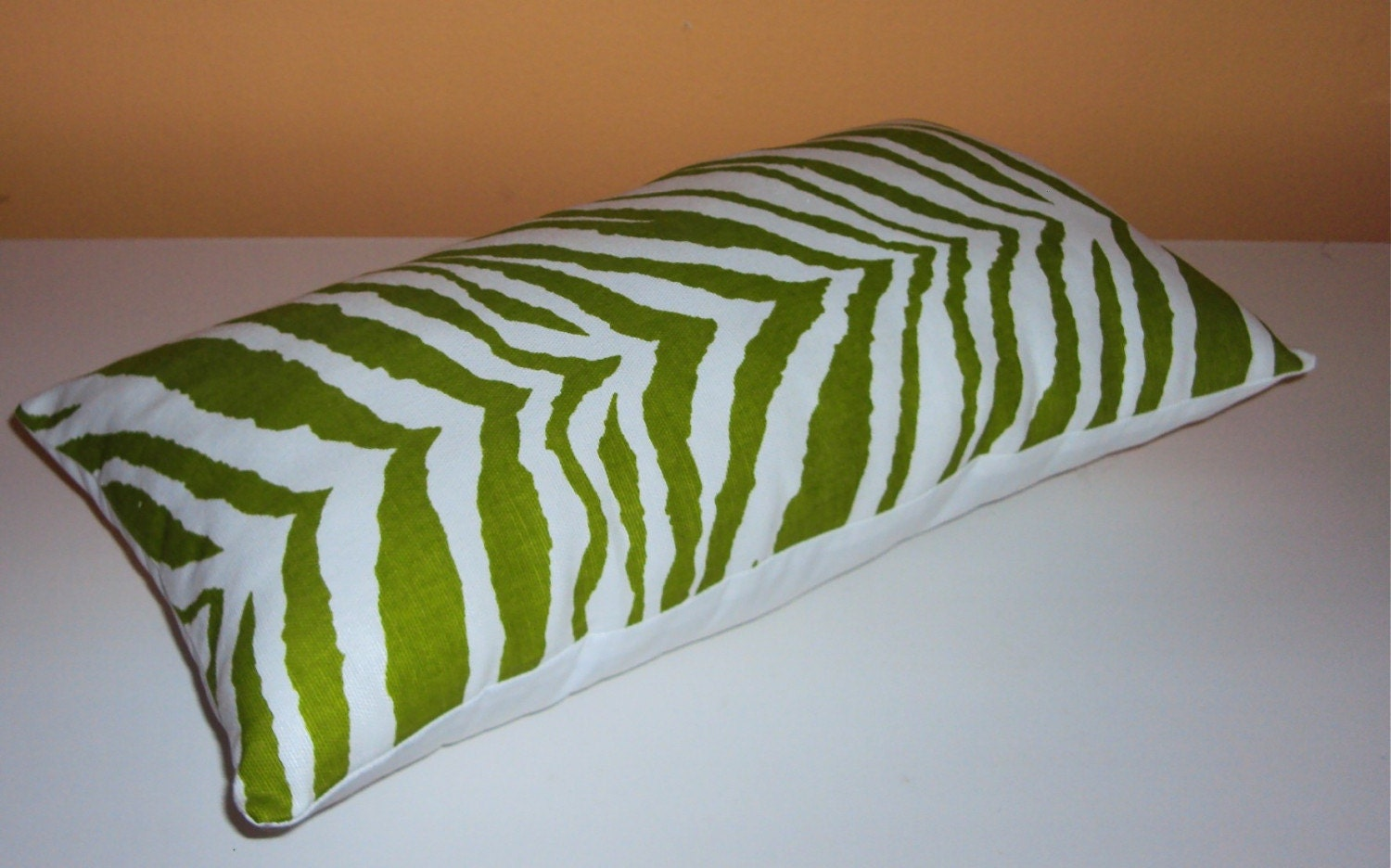Bright Green And White Zebra Animal Print Fabric Pillow