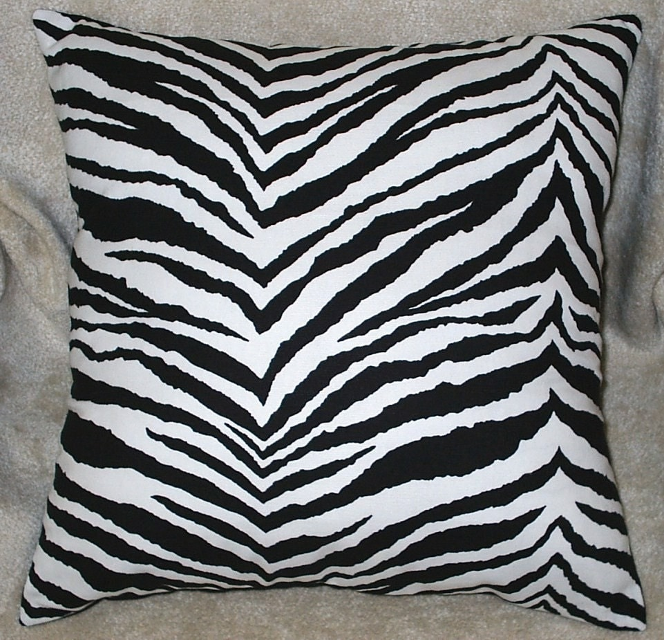 12x12 Black and White Zebra Animal Print Fabric Throw Pillow