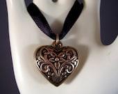 Ellis' Heart  Choker on Black Satin Ribbon
