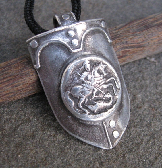 St George and the Dragon Shield Pendant in Fine Silver