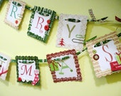 Merry Christmas Banner - Handmade Embellished B A N N E R - Green/Red - Holiday Decor - Approx 4ft. Long