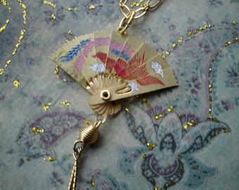 Necklace oriental vintage metal Japanese fan recycled dragon bird OOAK