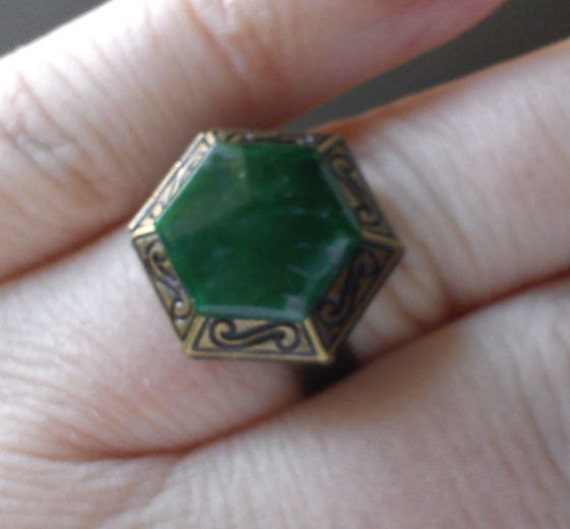 Mystery hexagon locket ring moss green marbled effect Wicca Pagan adjustable