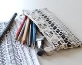 Aztec illustration screen printed pencil case
