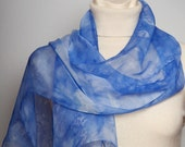 Unique Hand Dyed Real Silk Chiffon Scarf with Ocean Sea Waves Water Blue White Extra Soft Light 13 X 53 READY TO SHIP