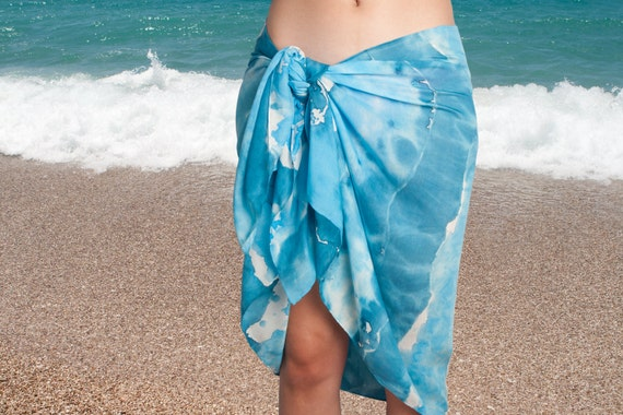 Hand Painted Silk Cotton Summer Sarong Sea Ocean Blue Colors  Scarf Wrap  25 X 70 Colorfull Beach Holidays READY TO SHIP