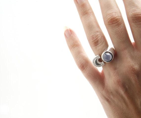 Ring Chalcedony & Diamonds - AW Co.