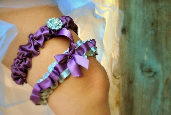 Purple and Silver Wedding Garter