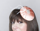 Coral Satin Vintage Inspired Fascinator with Ostrich feathers