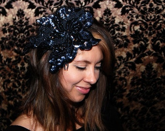 Large Black and Silver Beaded & Sequin Handmade Flower Headband/Fascinator // Black or Blonde Elastic band // Flapper Holiday Party Wedding