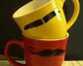 Mustache mug - 2 sided bright red mug