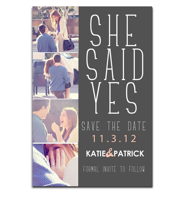 Engagement photo SAVE THE DATE postcard: She Said yes