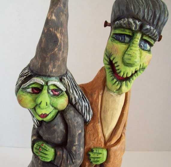 Halloween Witch and Frankenstein Wood Carving Ya Wanna DaNce Folk Art Original Handmade Halloween Decor Fall Décor Gift LLA Carve Creations