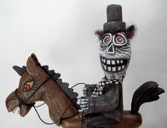 Halloween Folkart Wood Carving Wicked Ride OOAK