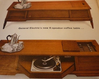 Vintage Advertisement  -  GE Stereo Coffee Table - 1960s Mad Men - original ad