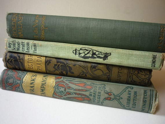 Vintage . .  Instant Collection . . Blue-Green Books from the 1920s or older