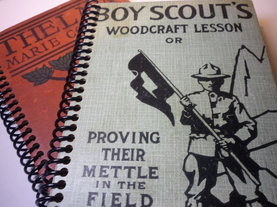 Recycled Journal - Boys Scouts Woodcraft Lesson - Recycled Sketchbook - One of a Kind - Great Father's Day Gift